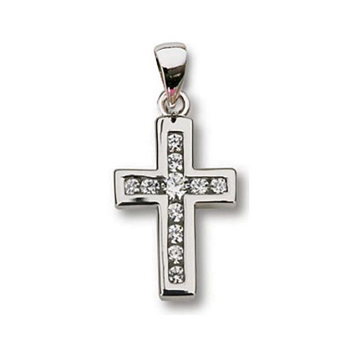 Sterling Silver 5/8in Channel Set CZ Cross 18in Necklace