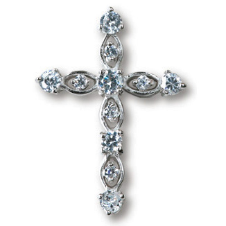 Sterling Silver 1in Filigree CZ Cross 18in Necklace