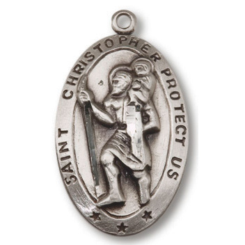 Sterling Silver 1in Oval Saint Christopher 24in Necklace