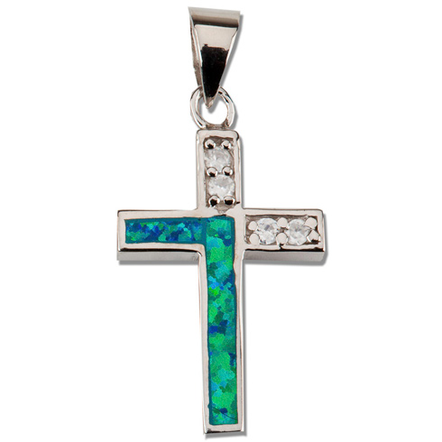 Sterling Silver 3/4in Green Opal and CZ Cross 18in Necklace