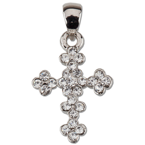 Sterling Silver 5/8in Budded CZ Cross 18in Necklace