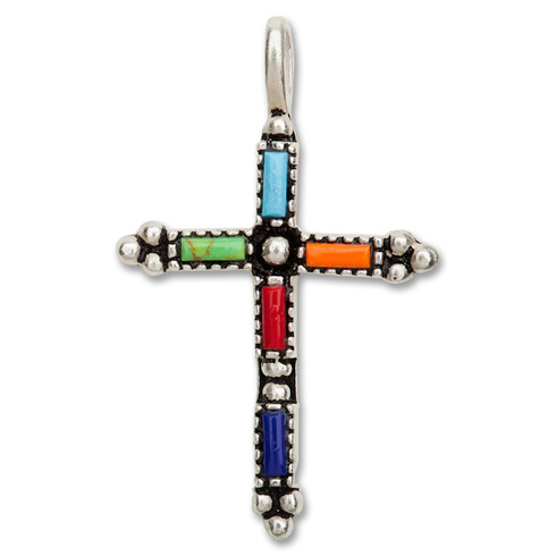Sterling Silver 1in Gemstone Cross 18in Necklace