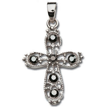 Sterling Silver 7/8in Dark CZ Cross 18in Necklace