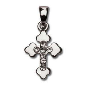 Sterling Silver 9/16in Budded CZ Cross 18in Necklace
