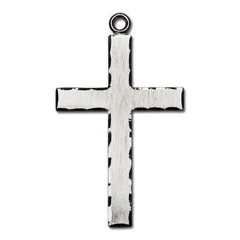 Sterling Silver 1 1/2in Lord's Prayer Textured Cross 24in Necklace