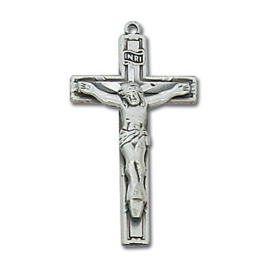 Sterling Silver 1in Latin Crucifix on 18in Steel Chain