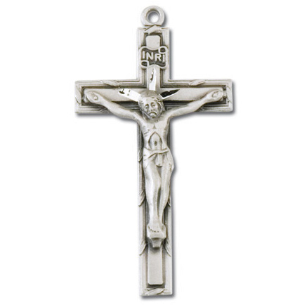 Sterling Silver 1 1/4in Latin Crucifix on 18in Steel Chain