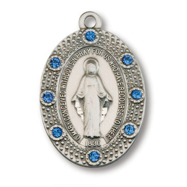 Sterling Silver 7/8in Crystal Miraculous Medal 18in Necklace