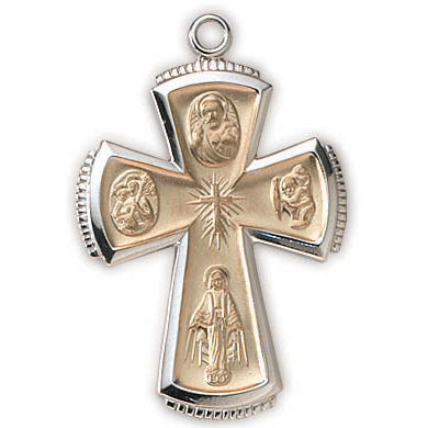 Sterling Silver 1 1/8in Four Way Cross 24in Necklace