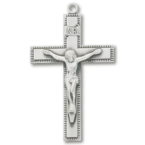 Sterling Silver 1 3/4in Latin Crucifix 24in Necklace