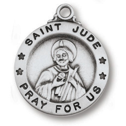 Sterling Silver 5/8in Saint Jude Medal 18in Necklace