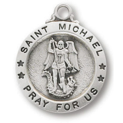 Sterling Silver 5/8in Saint Michael Medal 18in Necklace
