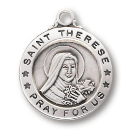 Sterling Silver 5/8in Saint Therese Medal 18in Necklace