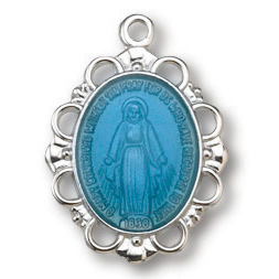 Sterling Silver 5/8in Filigree Blue Miraculous Medal 18in Necklace