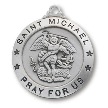 Sterling Silver 7/8in Saint Michael Medal 24in Necklace