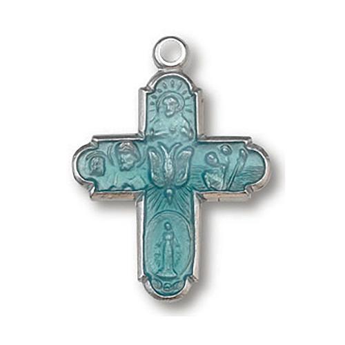 Sterling Silver 3/4in Enamel Four Way Cross 18in Necklace