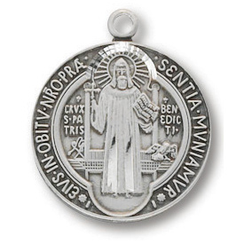 Sterling Silver 5/8in Saint Benedict Medal 18in Necklace