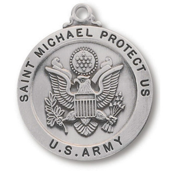Sterling Silver 7/8in Saint Michael Army Medal 24in Necklace