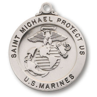 Sterling Silver 7/8in Saint Michael Marines Medal with 24in Chain
