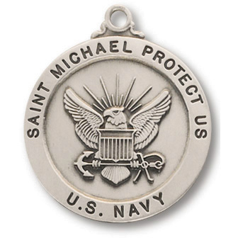 Sterling Silver 7/8in Saint Michael Navy Medal 24in Necklace
