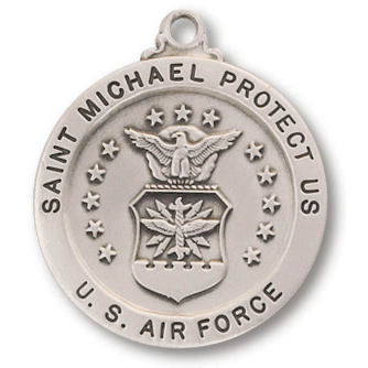Sterling Silver 7/8in Saint Michael Air Force Medal 24in Necklace
