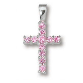 Sterling Silver 5/8in Rose Crystal Cross 18in Necklace