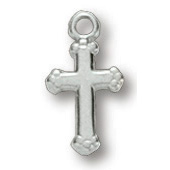 Sterling Silver 3/8in Budded Cross 16in Necklace