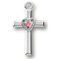 Sterling Silver 1/2in Cross Heart 16in Necklace