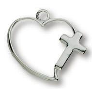 Sterling Silver 7/16in Heart Cross 18in Necklace