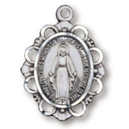Sterling Silver 5/8in Filigree Miraculous Medal 18in Necklace