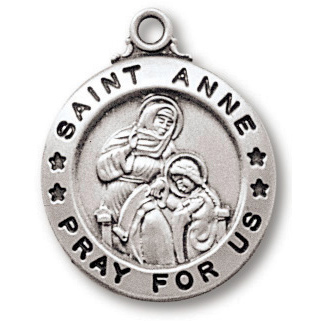 Sterling Silver 3/4in Saint Anne Medal 18in Necklace