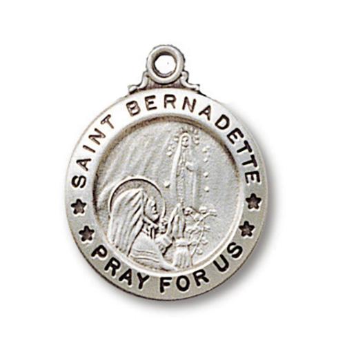 Sterling Silver 3/4in Saint Bernadette Medal 18in Necklace