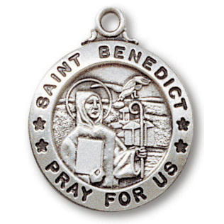 Sterling Silver 3/4in Saint Benedict Medal 18in Necklace