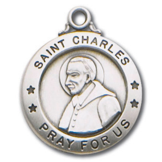 Sterling Silver 3/4in Saint Charles Medal 18in Necklace