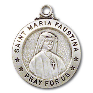 Sterling Silver 3/4in Saint Maria Faustina 18in Necklace