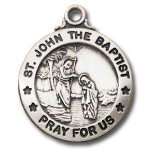 Sterling Silver 3/4in Saint John the Baptist 18in Necklace