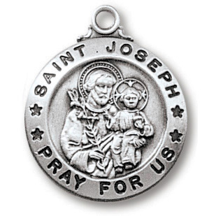 Sterling Silver 3/4in Saint Joseph Medal 18in Necklace