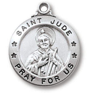 Sterling Silver 3/4in Saint Jude Medal on 18in Steel Chain