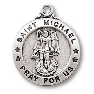 Sterling Silver 3/4in Saint Michael Medal 18in Necklace