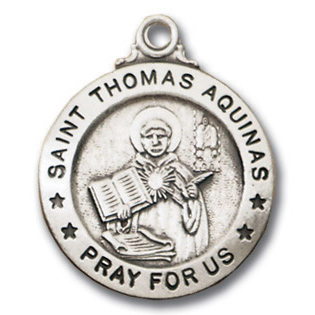 Sterling Silver 3/4in Saint Thomas Aquinas 18in Necklace