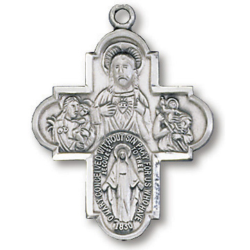 Sterling Silver 1in Four Way Cross 18in Necklace