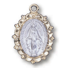 Sterling Silver 1/2in Filigree Miraculous Medal with 18in Chain