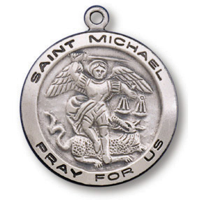 Sterling Silver 3/4in Round Saint Michael Medal 18in Necklace