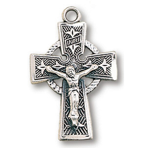 Sterling Silver 3/4in Celtic Crucifix on 18in Necklace