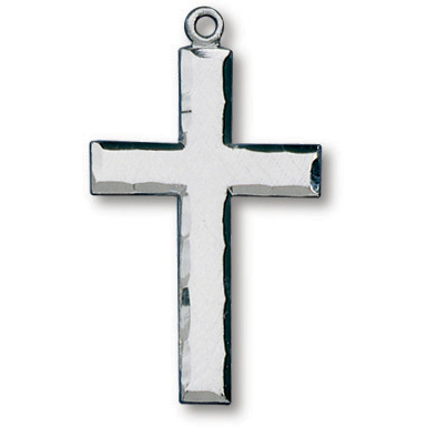 Sterling Silver 1in Latin Scalloped Cross on 24in Necklace