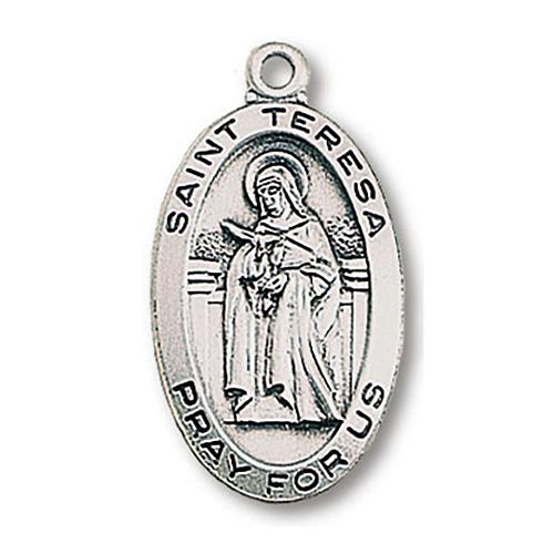 Sterling Silver 15/16in Saint Teresa Medal 18in Necklace
