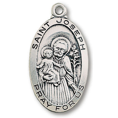 Sterling Silver 1in Oval Saint Joseph Medal 24in Necklace