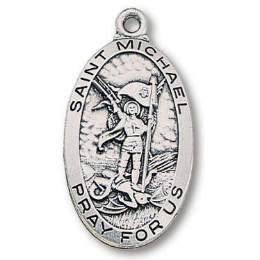 Sterling Silver 1in Oval Saint Michael Medal 24in Necklace
