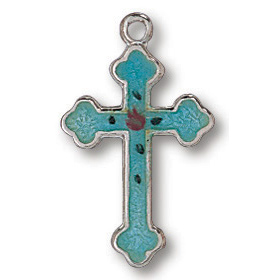 Sterling Silver 3/4in Budded Stone Cross 18in Necklace