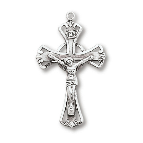 Sterling Silver 1 1/8in Crusader Crucifix on 18in Steel Chain